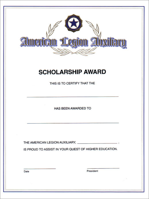 auxiliary scholarship award certificate