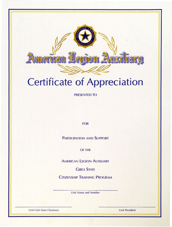 Girls state certificate of appreciation american legion flag girls state certificate of appreciation yelopaper Gallery