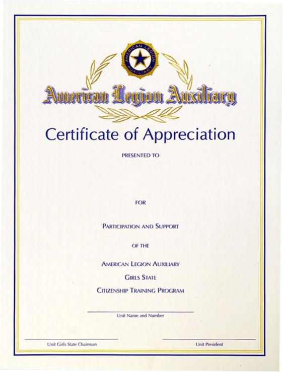 Girls State Certificate of Appreciation - American Legion ...
