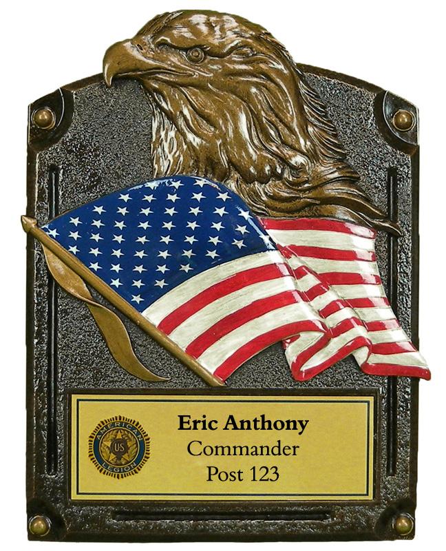 Regular Bronze Eagle Head Flag Plaque Legion American