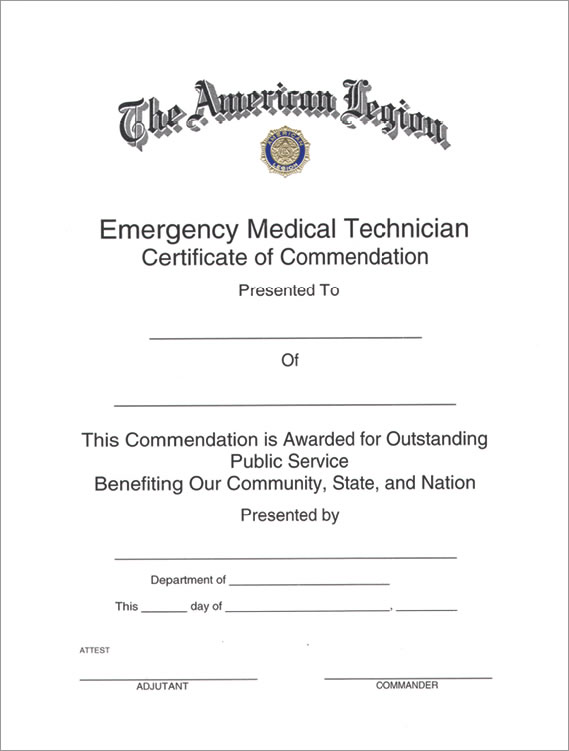 Legion EMT Certificate - American Legion Flag & Emblem