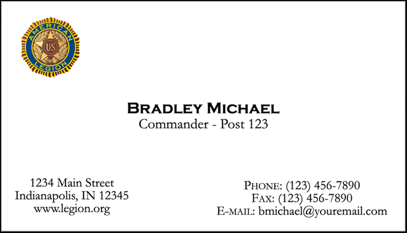 Legion printed emblem business cards american legion for American legion letterhead template