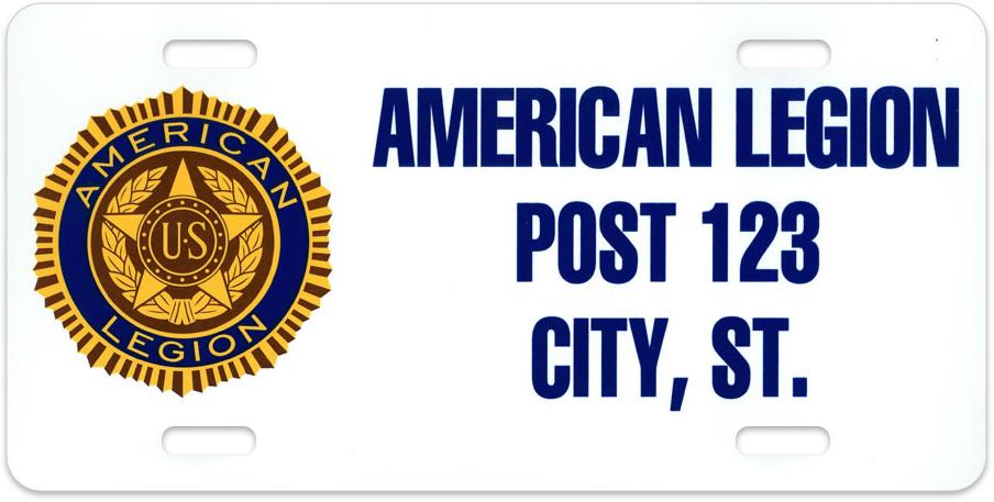 Custom Legion Auto Plate American Legion Flag Amp Emblem