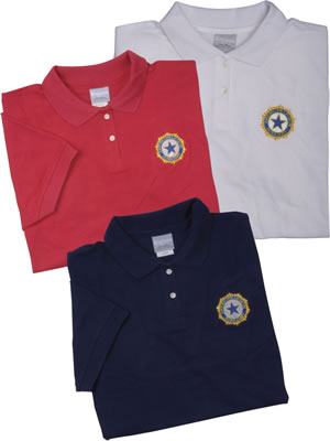 e0034118 Auxiliary Embroidered Emblem Polo-American Legion Flag & Emblem