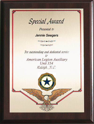 Special Award Plaque with Auxiliary Emblem - American ...