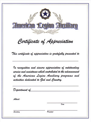 Auxiliary certificate of appreciation american legion flag emblem auxiliary certificate of appreciation yelopaper Choice Image