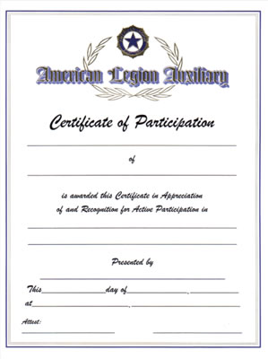 Auxiliary Certificate of Participation - American Legion ...