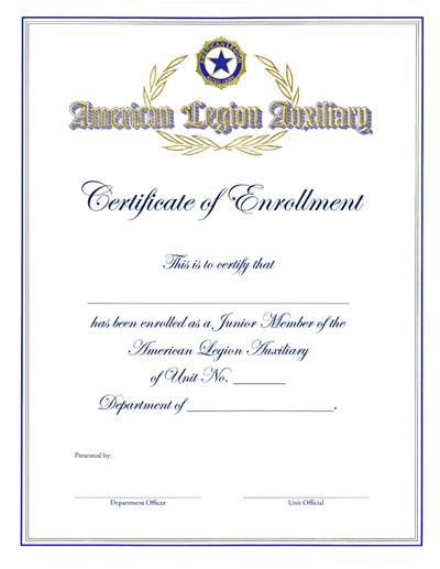 Auxiliary Junior Member Enrollment Certificate American