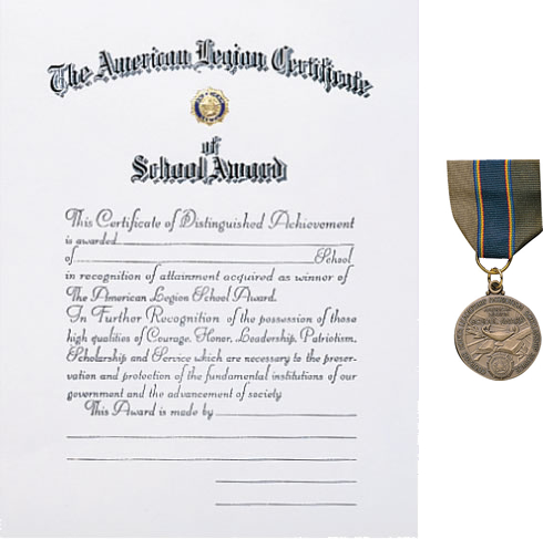 ... School Award Medal & Certificate - American Legion Flag & Emblem
