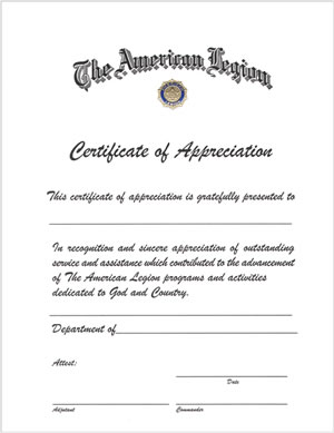 legion certificate of appreciation american legion flag emblem