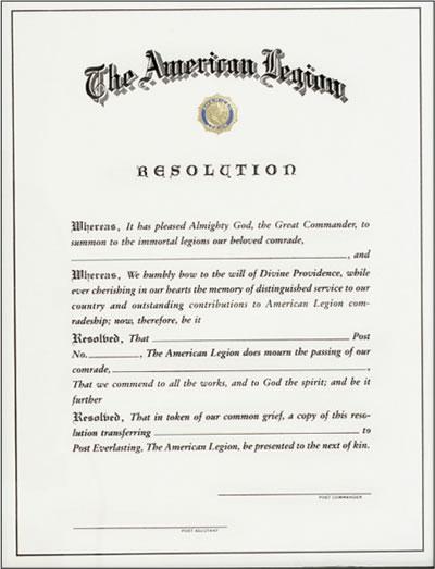 Post Everlasting Certificate - American Legion Flag & Emblem