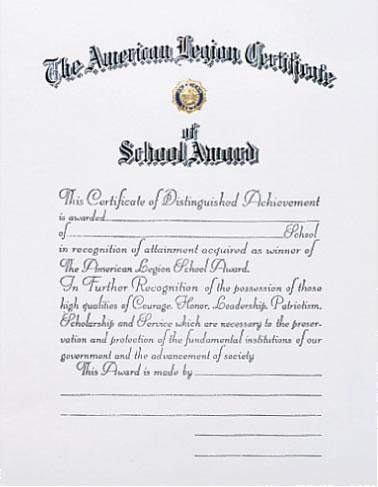 School Award Certificate  American Legion Flag  Emblem