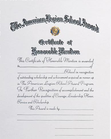 School Award Honorable Mention Certificate - American ...