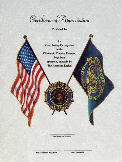 Boys State Certificate Of Appreciation American Legion