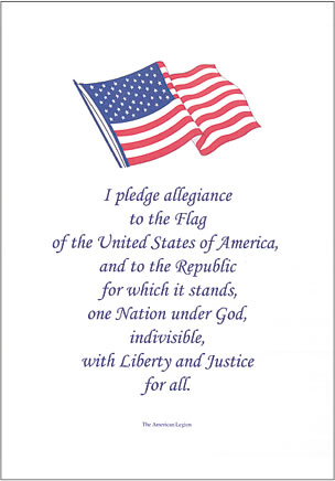 Pledge of Allegiance certificate