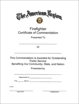 Firefighter Certificate - American Legion Flag & Emblem