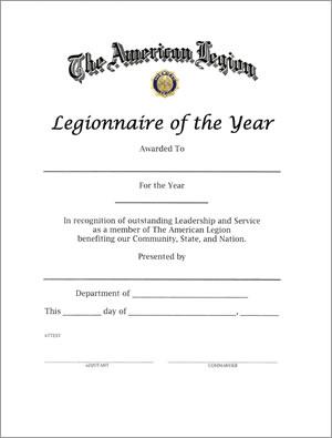 Legionnaire Of The Year Certificate American Legion Flag
