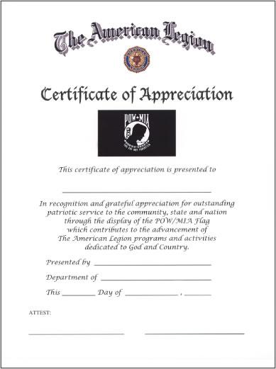pow-mia flag certificate