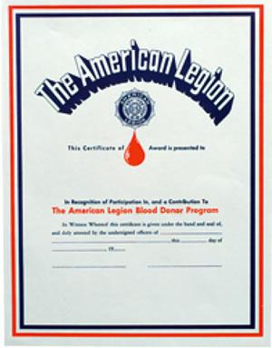 legion blood donor certificate