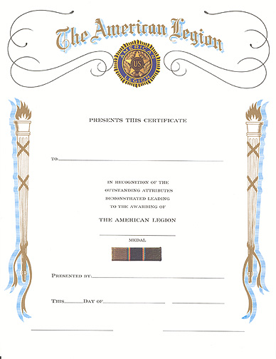 Certificate of Medal Award