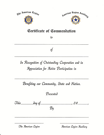 Legion/Auxiliary Certificate of Commendation