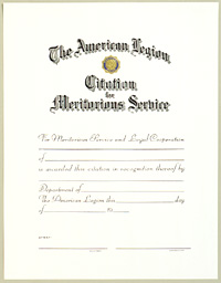 Citation for Meritorious Service