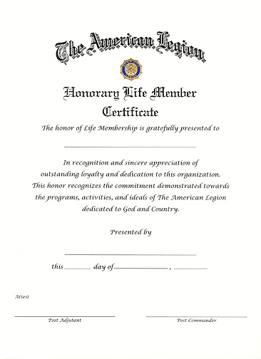 Life member certificate american legion flag emblem for National honor society certificate template