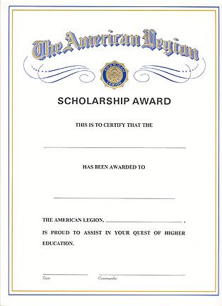scholarship award certificate american legion flag amp emblem