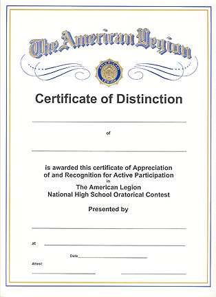 Oratorical Contest Certificate