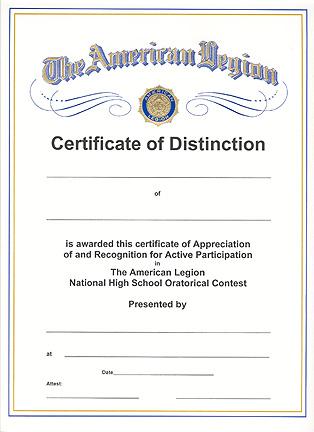 Oratorical Contest Certificate - American Legion Flag & Emblem