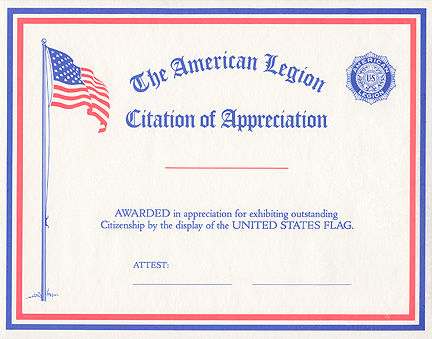 Flag citation of appreciation american legion flag emblem for American legion letterhead template